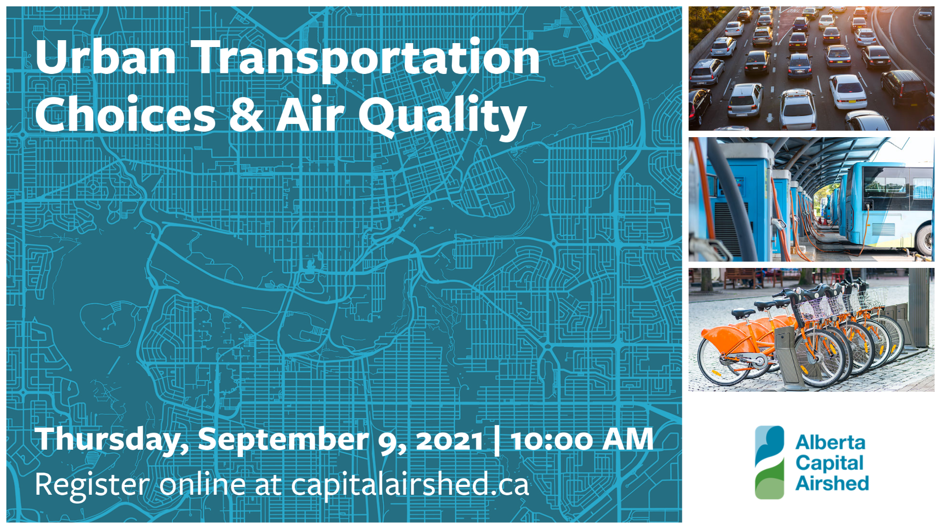 Webinar Banner featuring photos of traffic, electric buses, and a bike share